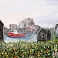 Red Boat In Peggys Cove Nova Scotia  by Ian  MacDonald