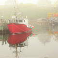 Red Boat In The Fog by Csaba Demzse