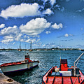 Red Boats At Blue Pier by Darryl Brooks
