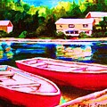 Red Boats At The Lake by Carole Spandau