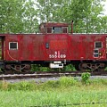 Red Caboose In The Rain by J R Seymour