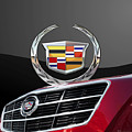 Red Cadillac C T S - Front Grill Ornament And 3d Badge On Black by Serge Averbukh