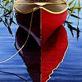 Red Canoe In Pickerel Weeds by Ed Novak
