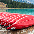 Red Canoes Of Emerald Lake by Pierre Leclerc Photography