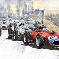 1957 Red Car Ferrari 801 German Gp 1957  by Yuriy Shevchuk