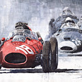 Red Car Ferrari D426 1958 Monza Phill Hill by Yuriy Shevchuk