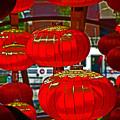 Red Chinese Lanterns by David Frederick