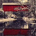 Red Covered Bridge In Winter by Jeff Folger