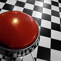 Red Cushion Stool Above Chequered Floor by Peter Young