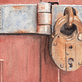 Red Door And Old Lock by Ken Powers