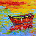 Red Fishing Boat At Sunset - Modern Impressionist Knife Palette Oil Painting by Patricia Awapara