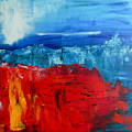 Red Flowers Blue Mountains - Abstract Landscape by Eliza Donovan