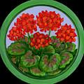 Red Geranium On Wood by Anna Folkartanna Maciejewska-Dyba