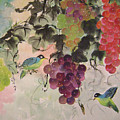 Red Grapes And Blue Birds by Lian Zhen