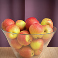 Red Green Apples In A Glass Bowl by Stefan Rotter