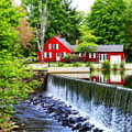 Red House By The Falls by Marcel  J Goetz  Sr