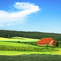 Red House In Field - Amshausen, Germany by Crystal Alatorre