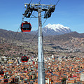 Red Line Cable Cars And Mt Illimani La Paz Bolivia by James Brunker
