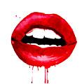 Red Lips 3  by Del Art