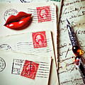 Red Lips Pin And Old Letters by Garry Gay