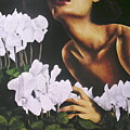 Red Lips White Flowers by Trisha Lambi
