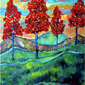 Red Maples On Green Hills With Name And Title by Frank Botello