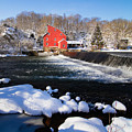 Red Mill In Winter Landscape by George Oze