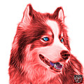 Red Modern Siberian Husky Dog Art - 6024 - Wb by James Ahn
