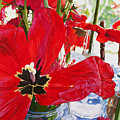 Red Party Flowers IIi by Lissa Banks