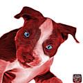 Red Pitbull Dog Art 7435 - Wb by James Ahn