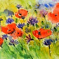 Red Poppies And Cornflowers by Pol Ledent