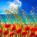 Red Poppies And Sea Oats By The Sea by Patricia L Davidson