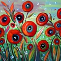 Red Poppies In Grass by Luiza Vizoli