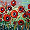 Red Poppies In Grass by Luiza Vizoli