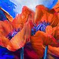 Red Poppies On Blue by Carol Cavalaris
