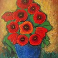 Red Poppies In Blue Vase by Vesna Antic