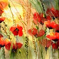 Red Poppies Watercolor by Suzann Sines