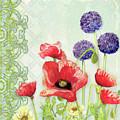 Red Poppy Purple Allium IIi - Retro Modern Patterns by Audrey Jeanne Roberts