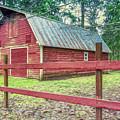 Red Rail Barn by Jean OKeeffe Macro Abundance Art