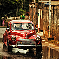Red Retromobile. Morris Minor by Jenny Rainbow