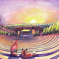 Foxes At Red Rocks Sunrise by David Sockrider