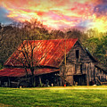 Red Roof At Sunset by Debra and Dave Vanderlaan