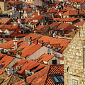 Red Roofs And Stone Buildings As Seen From The City Walls, Dubrovnik, Croatia by Global Light Photography - Nicole Leffer