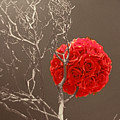 Red Rose Ball In Field Of Gray by Linda Phelps