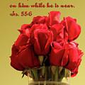 Red Rosed In Vase Is.55 V 6 by Linda Phelps