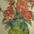 Red Roses In A Green Vase by Walt Maes