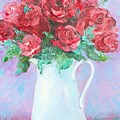 Red Roses In White Jug by Jan Matson