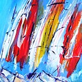 Red Sails On Blue  by Mary Cahalan Lee- aka PIXI