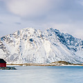 Red Shack On Fjord - Panorama by Michael Blanchette