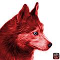 Red Siberian Husky Art - 6048 - Wb by James Ahn